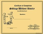 Siblings Without Rivalry Workshop Certificate of Completion